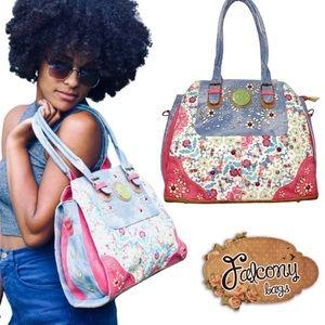 Falcony colorful purse faux leather & suede vegan